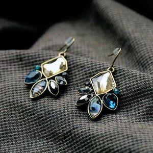 Gold/Blue/Amber/Gray Crystal Gem Dangle Earrings